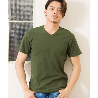 シルバーバレット CavariAネックが選べるスパンテレコ半袖Tシャツ メンズ カーキ 46(L) 【SILVER BULLET】