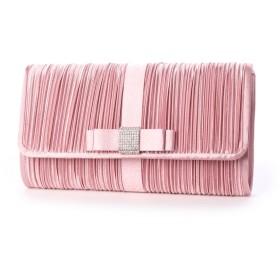 スタイルブロック STYLEBLOCK リボン&プリーツビジューパーティークラッチバッグ (ピンク)
