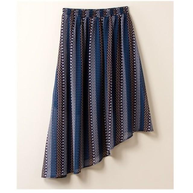 スカート ひざ丈 大きいサイズ レディース アシメフレア  3L ニッセン