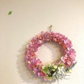 ふんわり 紫陽花 リース ピンク