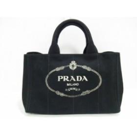 プラダ PRADA トートバッグ レディース CANAPA 1BG642 黒 キャンバス【中古】