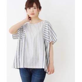3can4on(Ladies)(サンカンシオン(レディース)) 【洗える】パッチワークストライプシャツ