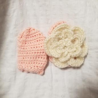 ミトン 手袋 0~1歳 お花柄 ピンク