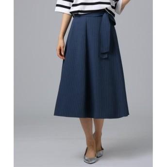 UNTITLED / アンタイトル [L]【洗える】ウエストリボン ストライプフレアスカート