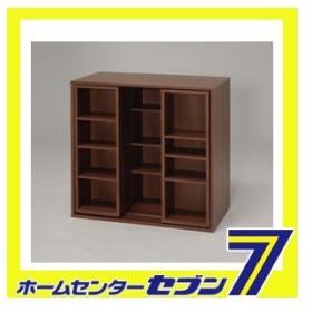 スライドラック ウォールナットブラウン MOJ-75SR 幅75×奥行39.1×厚さ75cm アイリスオーヤマ [本 DVD CD 整理棚 収納 収納用品 リビング収納]