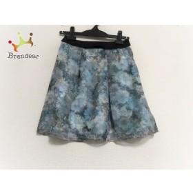 アプワイザーリッシェ スカート サイズ0 XS レディース 美品 ライトブルー×グレー×黒 花柄   スペシャル特価 20190826