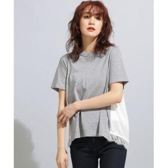 nano・universe MUVEIL WORK×AntiSoaked裾レースTシャツ(トップグレー)【返品不可商品】