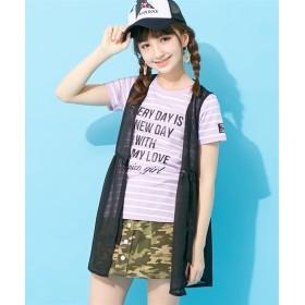 2点セット(シフォンジレ+ボーダーTシャツ)(女の子 子供服。ジュニア服) Tシャツ・カットソー
