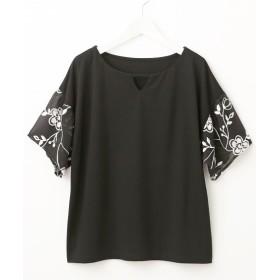 花柄ししゅう袖がかわいいカットソートップス (Tシャツ・カットソー)(レディース)