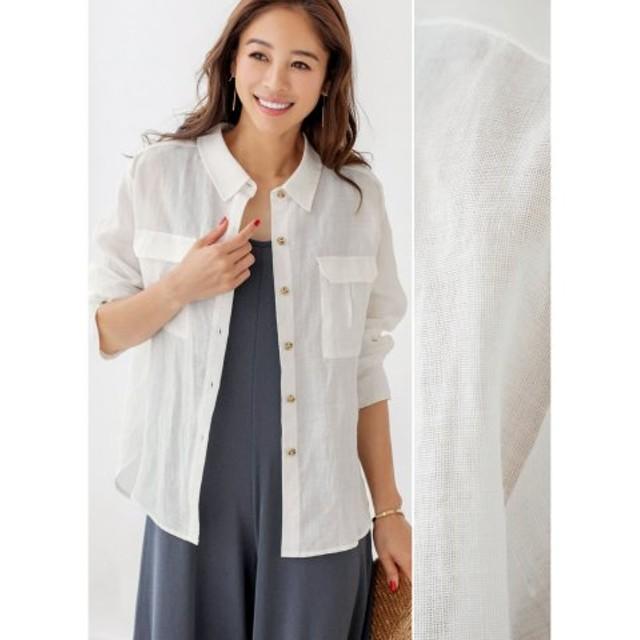 (STYLE DELI/スタイルデリ)【LUXE】リネン羽織りシャツ/レディース ホワイト