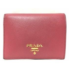 プラダ PRADA 2つ折り財布 レディース - 1MV204 ピンク サフィアーノレザー【中古】
