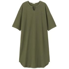 (GU)キーネックTワンピース(5分袖) OLIVE M