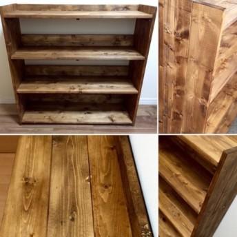 木製オープンラック ウォルナット