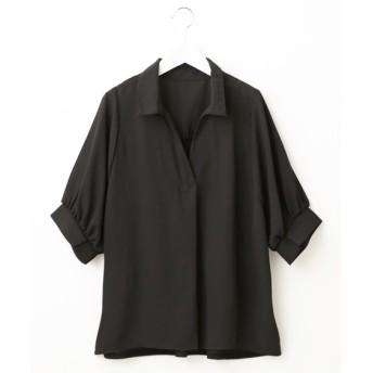 後カットソー切替ジョーゼット5分袖スキッパーシャツ (ブラウス),Blouses, Shirts