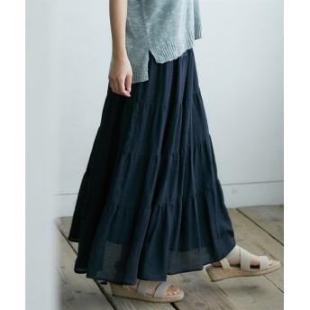 【ゆったりワンサイズ】ベルト付ティアードロングスカート (ロング丈・マキシ丈スカート),skirt