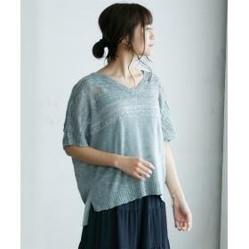透かし編配色スラブニット (ニット・セーター)(レディース),Knitting