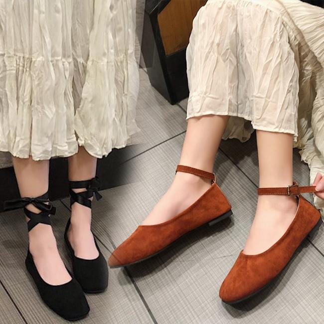 FOFU-包鞋百變穿法綁帶皮帶扣絨面素色低跟包鞋【02S10837】
