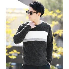 (JIGGYS SHOP/ジギーズショップ)パネルクルーネックニットソー/ニット セーター メンズ ニットソー uネック クルーネック/メンズ ブラック