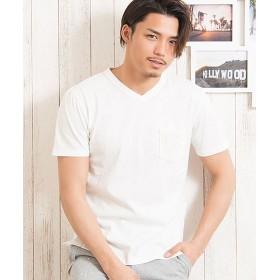 シルバーバレット CavariAパームツリーニット切替ポケットVネック半袖Tシャツ メンズ ホワイト 44(M) 【SILVER BULLET】