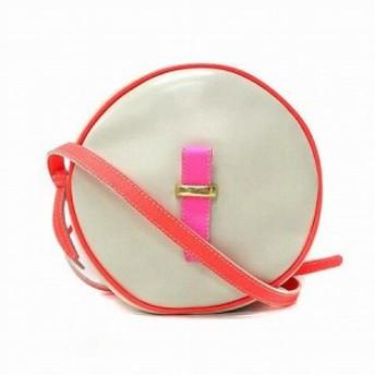 【中古】ショルダー バッグ ミニ ポーチ型 丸形 グレー ピンク 鞄 レディース