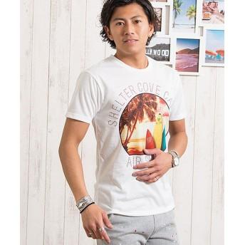 シルバーバレット CavariAサーフサークル柄転写プリント入り半袖クルーネックTシャツ メンズ ホワイト系1 46(L) 【SILVER BULLET】