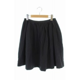 【中古】ノーリーズ Nolley's スカート 膝丈 ギャザー ナイロン 38 黒 ブラック /ES ■OS レディース