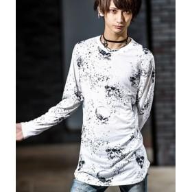 (SILVER BULLET/シルバーバレット)Bernings Sho【バーニングショー】スカル総柄プリントロング丈Tシャツ/メンズ ホワイト