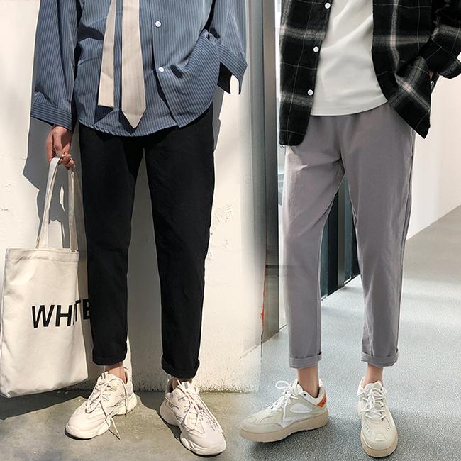 FOFU-休閒褲店主風日系素色休閒褲直筒褲長褲【08B-G0673】