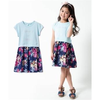 花柄異素材ドッキングワンピース(女の子 子供服) ワンピース