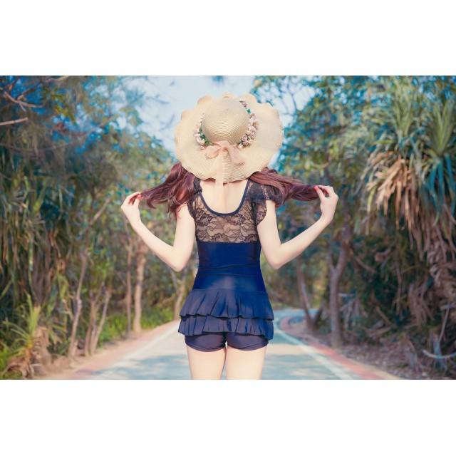 麦わら・ストローハット・カンカン帽 - Ruby's Collection 【Ruby's Collection】フリル裾花リボン飾り麦わら帽子