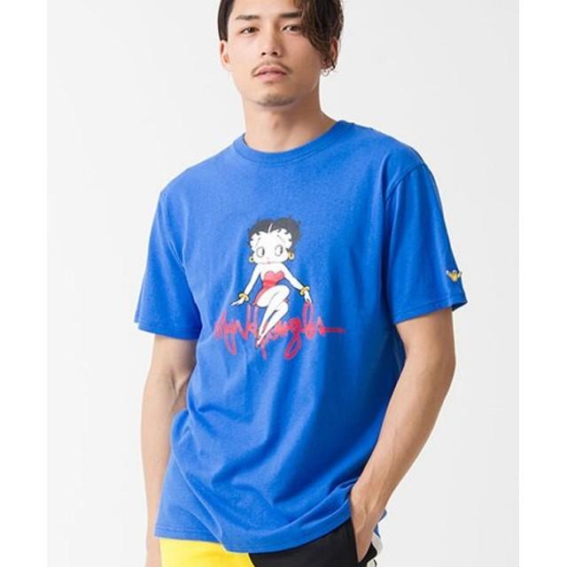 (SILVER BULLET/シルバーバレット)MARK GONZALES【マークゴンザレス】ビッグプリントクルーネック半袖Tシャツ/メンズ ブルー