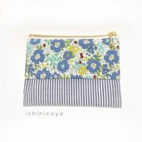 青いお花とストライプのティッシュポーチ12cmファスナー 夏 青 しましま 小花柄