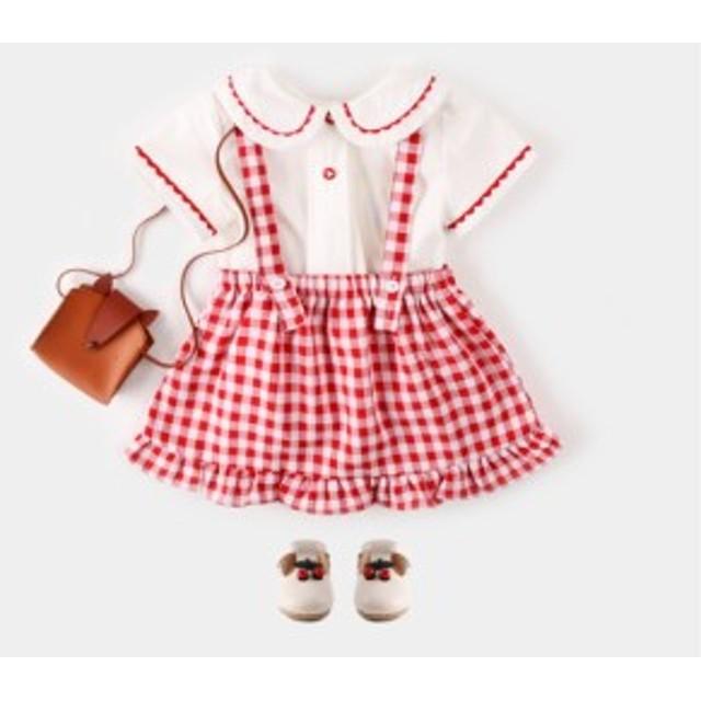 ギンガムチェック スカート 女の子 ベビー服 夏服 可愛い オシャレ