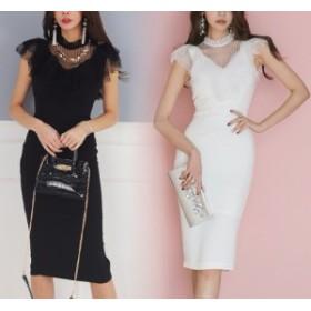 シアー ストライプ 切り替え タイト ドレス ワンピース きれいめ ミディアム 上品 パーティー お呼ばれ 結婚式 1848