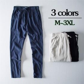 麻ズボン メンズ ネンパンツ 麻パンツ イージーパンツ カジュアルパンツ ロング リスウェット ボトムス 無地 涼しい 夏物