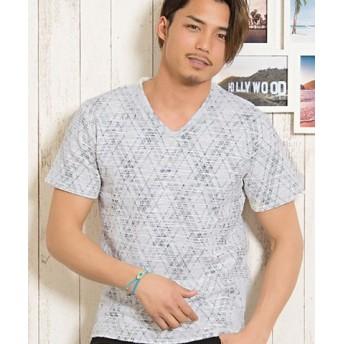 (SILVER BULLET/シルバーバレット)CavariA【キャバリア】スラブネップチェックVネック半袖Tシャツ/メンズ グレー