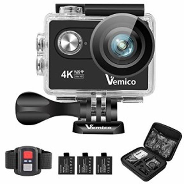 Vemico アクションカメラ 4K カメラ 防水 ウェアラブルカメラ バイクカメラ(中古良品)