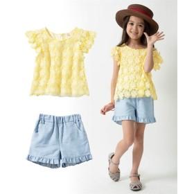 上下セット(レースモチーフトップス+裾フリルパンツ)(女の子 子供服。ジュニア服) シャツ・ブラウス