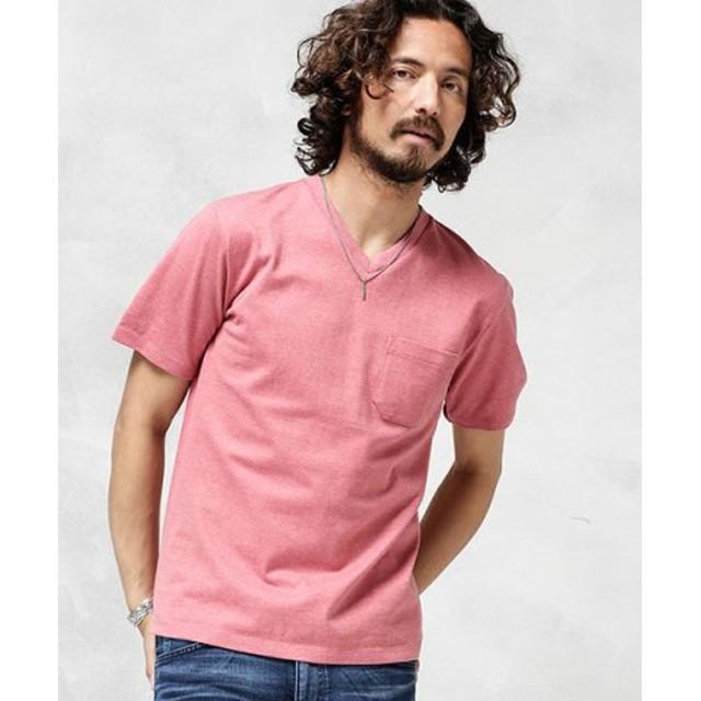 (nano・universe/ナノ・ユニバース)Anti Soaked ヘビーVネックTシャツ/メンズ ピンク