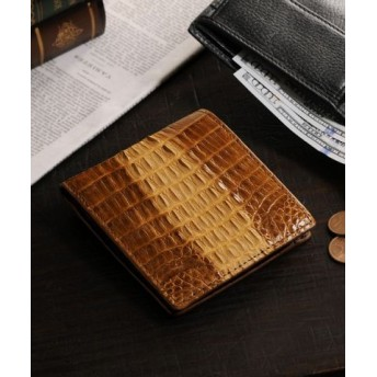 (sankyoshokai/サンキョウショウカイ)折り財布 小銭入れ付き メンズ 本革 カイマン レザー シャイニング/メンズ ブラウン 送料無料