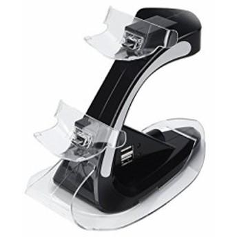 PS4 コントローラー 充電 PS4 充電 スタンド PS4 充電器 2台同時充電可能 LED 指示ランプ付き (ブラック01)