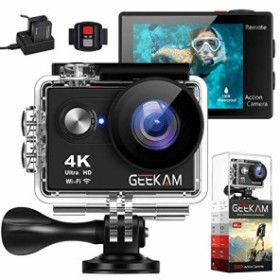 GeeKam アクションカメラ 4K WiFi 170度 超広角レンズ 水中 防水 カメラ リ(中古良品)