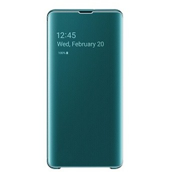 サムスン 「純正」Galaxy S10+用 Clear View Cover グリーン EF-ZG975CGEGJP