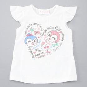 ベビー服 トップス 女の子ハートロゴ柄フレンチスリーブシャツ【ベビー・子供服】 「ホワイト」