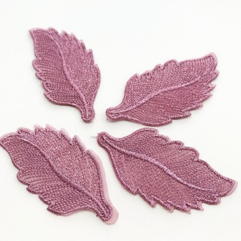 NEW 4枚セット 刺繍 リーフパーツ 葉っぱ