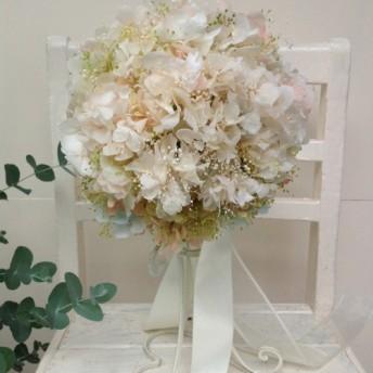紫陽花のウエディングブーケ(ピーチホワイト)