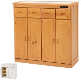 キッチンカウンター ハイタイプ 天然木 タイル天板 キャスター付 幅91cm ( カウンター キッチン タイル キャスター )