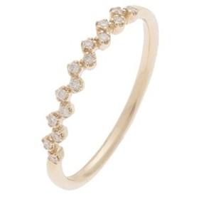 【SALE開催中】【COCOSHNIK:アクセサリー】ダイヤモンド 爪留め ハーフエタニティリング