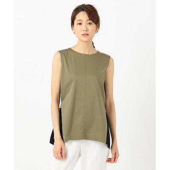 【SALE(三越)】<ICB 大きいサイズ> 大きいサイズ Fabric Combi Jersey ノースリーブ カットソー(KKCMKM0510) カーキ 【三越・伊勢丹/公式】