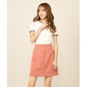 マルチビジューボタンリップル台形スカート
